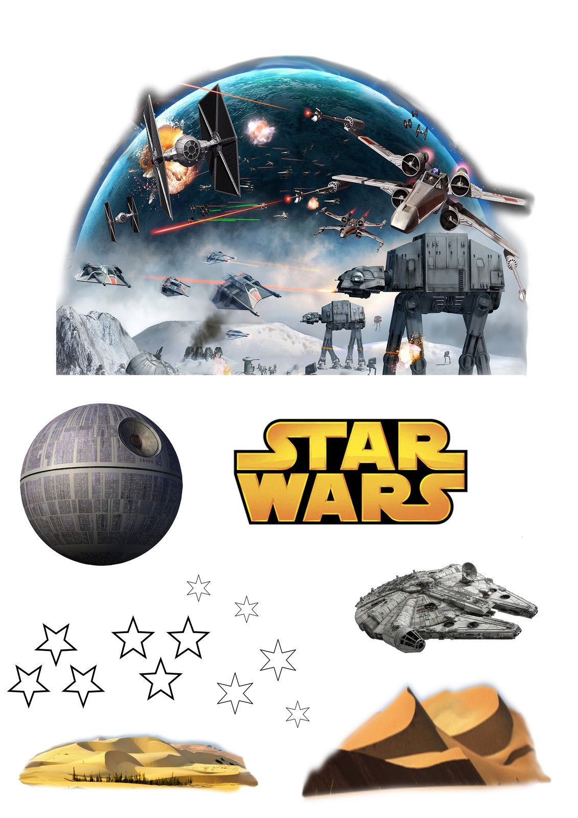 Star Wars Edible Wafer Card Cake Topper Scene